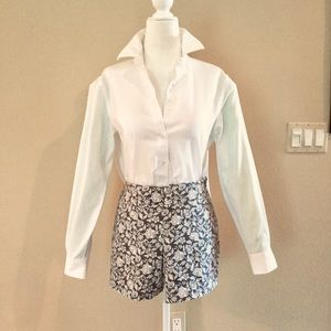 J. CREW GRAY & IVORY FLORAL SHORTS